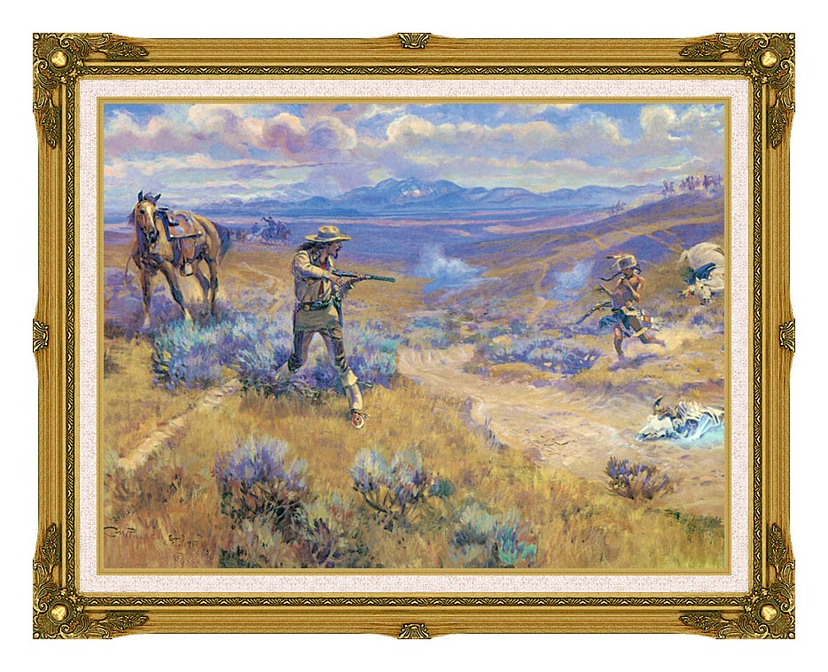 Charles Russell Buffalo Bill's Duel with Yellowhand with Museum Ornate Frame w/Liner