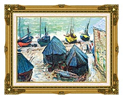 Claude Monet Boats In Winter Quarters canvas with museum ornate gold frame