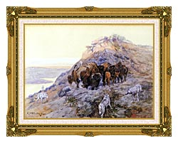 Charles Russell Buffalo Herd At Bay canvas with museum ornate gold frame