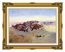Charles Russell Caught In The Circle canvas with museum ornate gold frame
