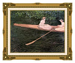 Claude Monet In A Canoe On The Epte River canvas with museum ornate gold frame