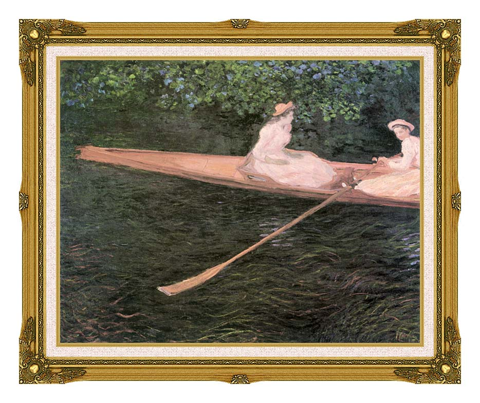 Claude Monet In a Canoe on the Epte River with Museum Ornate Frame w/Liner