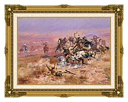 Charles Russell Counting Coup canvas with museum ornate gold frame
