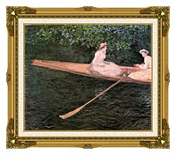 Claude Monet A Canoe On The Epte River canvas with museum ornate gold frame