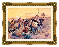 Charles Russell First Wagon Tracks canvas with museum ornate gold frame