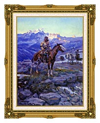 Charles Russell Free Trappers canvas with museum ornate gold frame