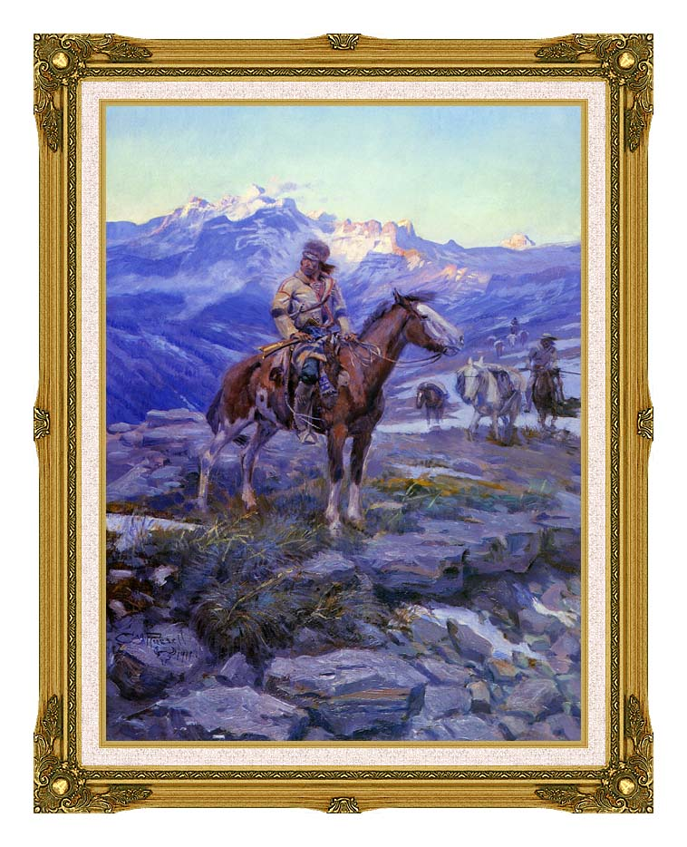 Charles Russell Free Trappers with Museum Ornate Frame w/Liner