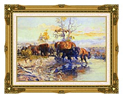 Charles Russell His Heart Sleeps canvas with museum ornate gold frame