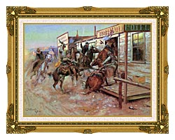 Charles Russell In Without Knocking canvas with museum ornate gold frame