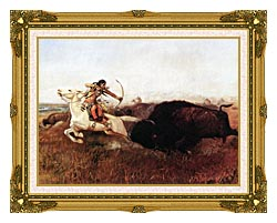 Charles Russell Indians Hunting Buffalo canvas with museum ornate gold frame