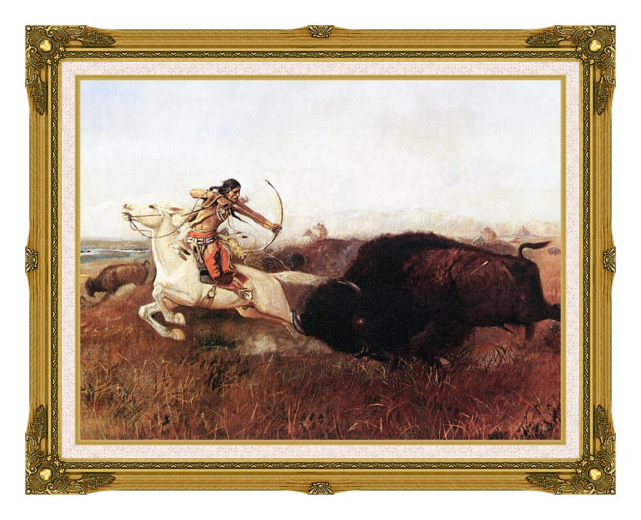 Charles Russell Indians Hunting Buffalo with Museum Ornate Frame w/Liner