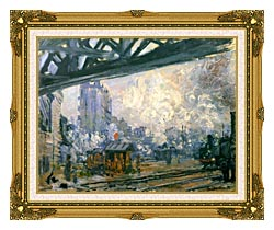 Claude Monet Outside View Of The Normandy Line canvas with museum ornate gold frame