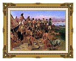Charles Russell Lewis And Clark Expedition Meeting With Indians canvas with museum ornate gold frame