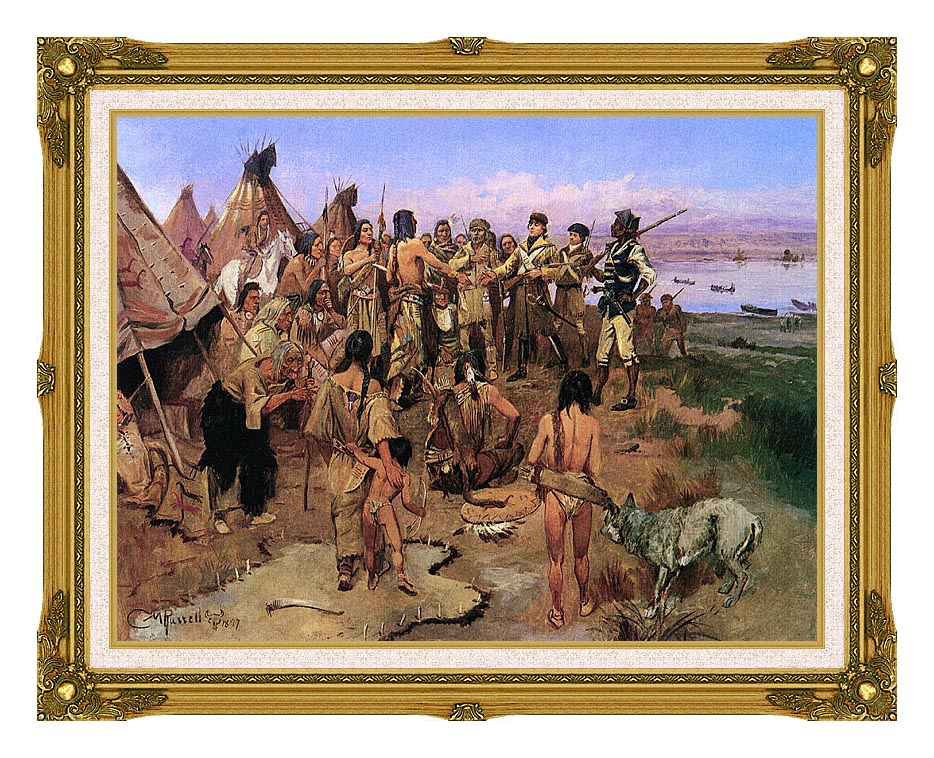 Charles Russell Lewis and Clark Expedition Meeting with Indians with Museum Ornate Frame w/Liner