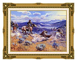 Charles Russell Loops And Swift Horses Are Surer Than Lead canvas with museum ornate gold frame