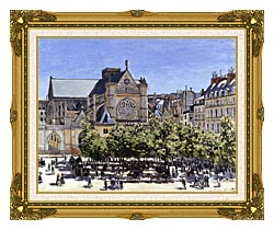 Claude Monet Saint Germain Lauxerrois canvas with museum ornate gold frame