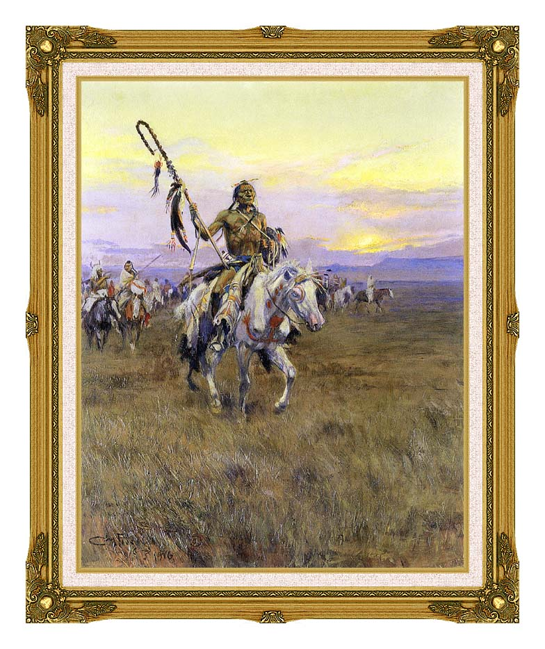 Charles Russell Medicine Man with Museum Ornate Frame w/Liner