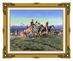 Charles Russell Men Of The Open Range Detail canvas with museum ornate gold frame