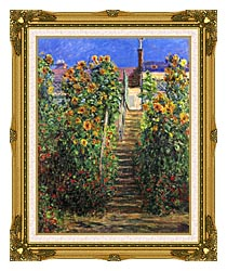 Claude Monet Steps At Vetheuil canvas with museum ornate gold frame