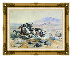Charles Russell On The Attack canvas with museum ornate gold frame
