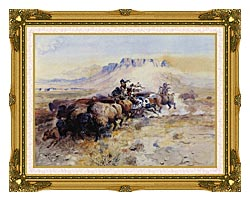 Charles Russell Redmans Meat canvas with museum ornate gold frame