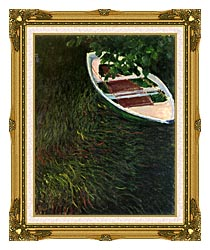 Claude Monet The Empty Boat canvas with museum ornate gold frame