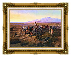 Charles Russell Returning To Camp canvas with museum ornate gold frame