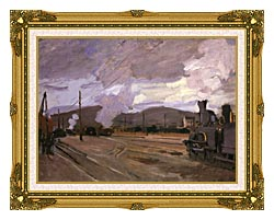 Claude Monet The Gare Dargenteuil canvas with museum ornate gold frame