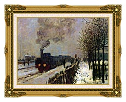 Claude Monet The Locomotive In Snow canvas with museum ornate gold frame