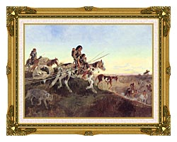 Charles Russell Seeking New Hunting Grounds canvas with museum ornate gold frame