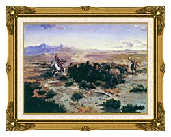 Charles Russell The Buffalo Hunt canvas with museum ornate gold frame
