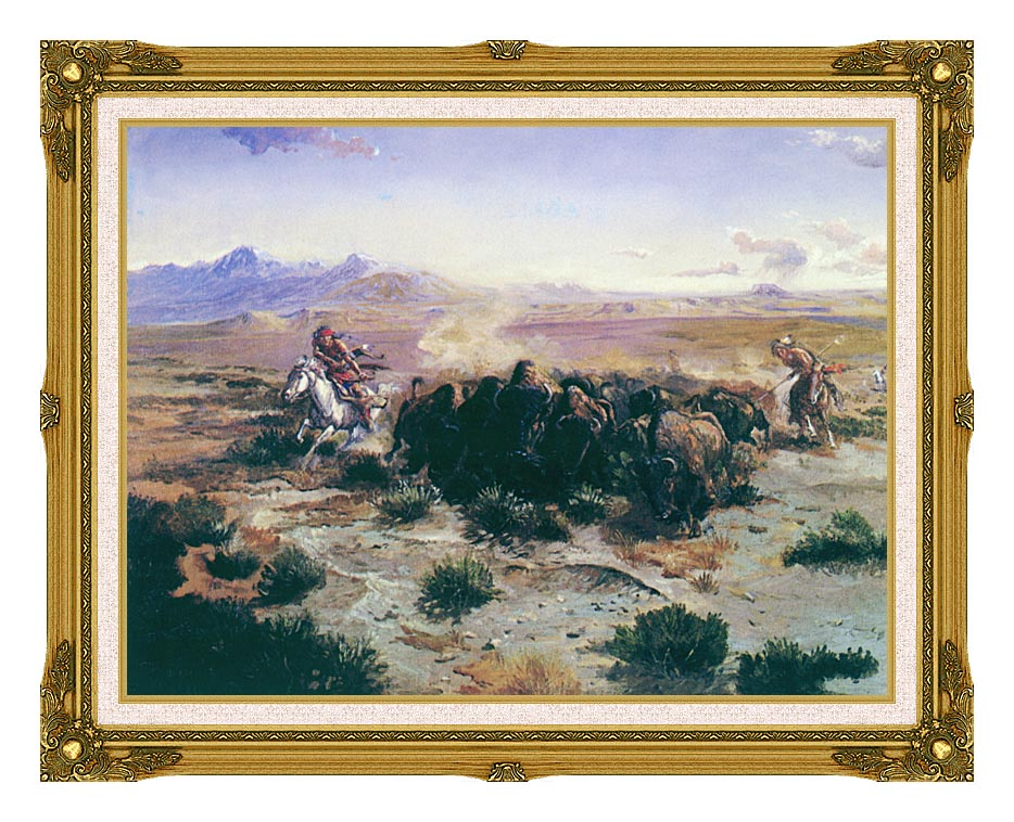 Charles Russell The Buffalo Hunt with Museum Ornate Frame w/Liner