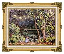 Claude Monet Studio Boat On The Seine River canvas with museum ornate gold frame