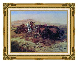 Charles Russell The Buffalo Hunt Wild Meat For Wild Men canvas with museum ornate gold frame