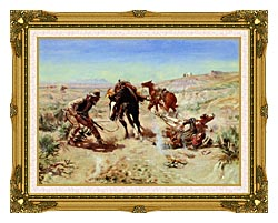 Charles Russell The Cinch Ring canvas with museum ornate gold frame