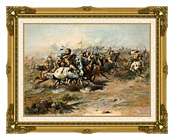 Charles Russell The Custer Fight canvas with museum ornate gold frame
