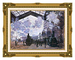 Claude Monet View Of The Normandy Train Line canvas with museum ornate gold frame
