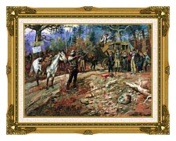 Charles Russell The Hold Up canvas with museum ornate gold frame