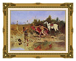 Charles Russell The Marriage Ceremony canvas with museum ornate gold frame