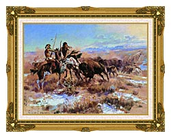 Charles Russell The Wounded Buffalo canvas with museum ornate gold frame