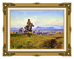 Charles Russell The Romance Makers canvas with museum ornate gold frame