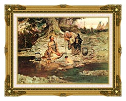 Charles Russell Three Generations canvas with museum ornate gold frame