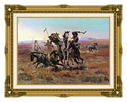 Charles Russell When Blackfeet And Sioux Meet canvas with museum ornate gold frame