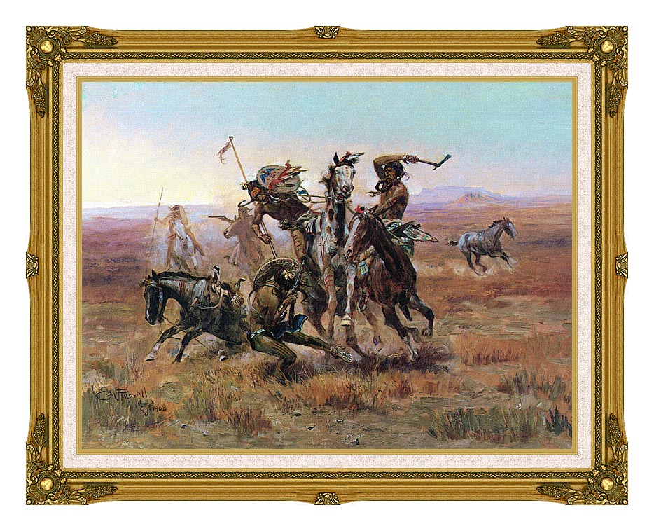 Charles Russell When Blackfeet and Sioux Meet with Museum Ornate Frame w/Liner
