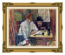 Henri De Toulouse Lautrec A La Mie canvas with museum ornate gold frame
