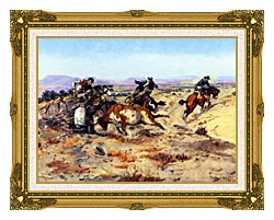 Charles Russell When Cowboys Get In Trouble canvas with museum ornate gold frame