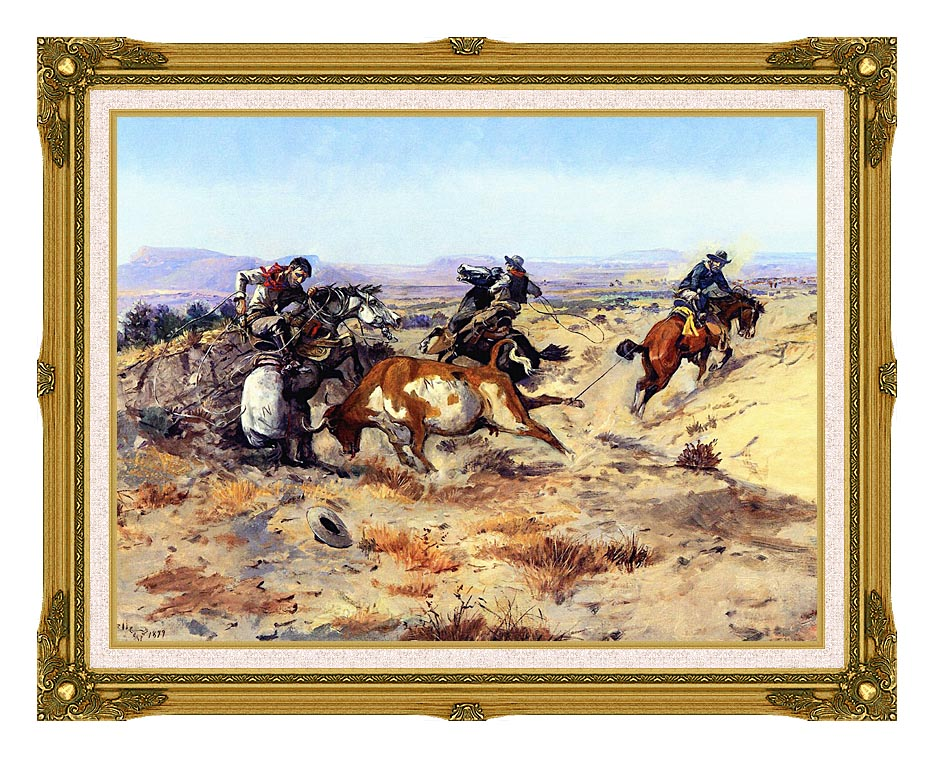 Charles Russell When Cowboys Get in Trouble with Museum Ornate Frame w/Liner