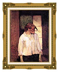 Henri De Toulouse Lautrec A Montrouge   Rosa La Rouge canvas with museum ornate gold frame