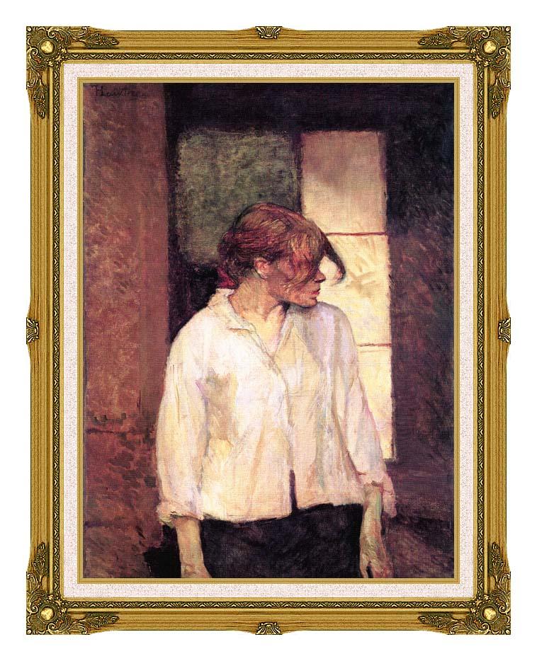 Henri de Toulouse Lautrec A Montrouge - Rosa La Rouge with Museum Ornate Frame w/Liner