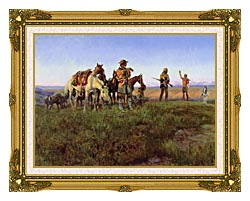 Charles Russell Wildmans Truce canvas with museum ornate gold frame
